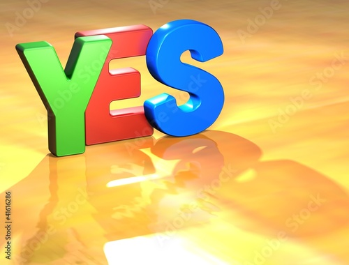 Word Yes on yellow background