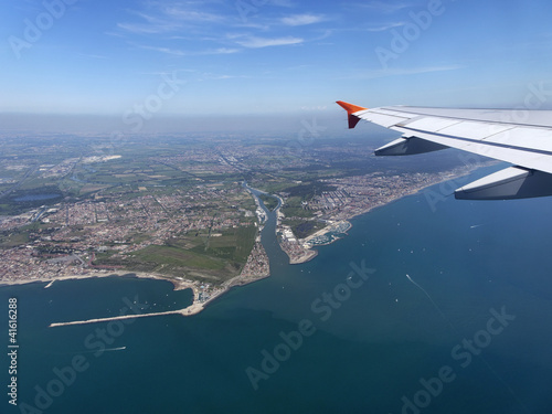 Italy, Lazio, aerial view of the Thyrrhenian coastline