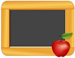 Apple, Wood Frame Blackboard, copy space for school, education