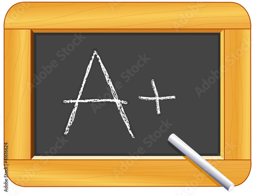 A Plus! Wood Frame Blackboard, chalk, for school, education.