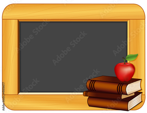 Wood Frame Blackboard, Books, Apple, copy space, school projects