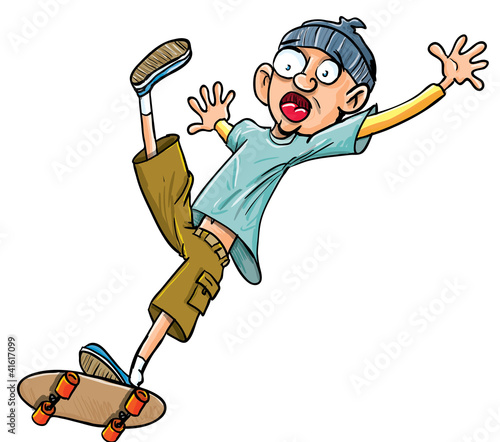 Cartoon skater falling of his skateboard.