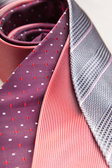 three necktie close up