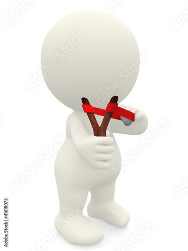 3D guy holding slingshot
