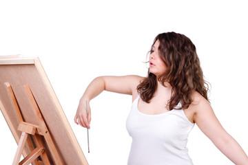 junge künstlerin beim malen