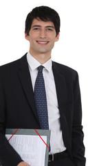 A businessman with a folder.