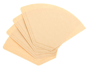 Four coffee filters isolated on a white background