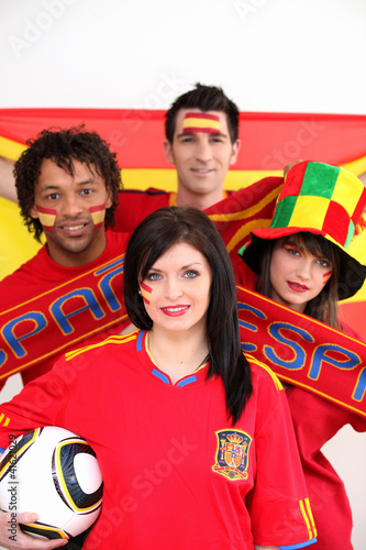 Soccer fans supporting Spain