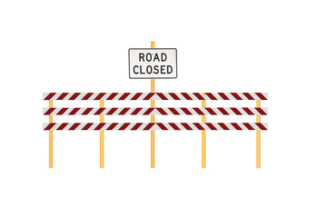 Road Barricade with Closed Sign Isolated on White
