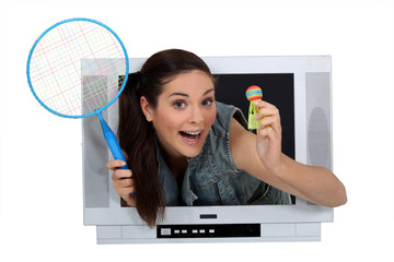 girl in TV screen with badminton racket and shuttlecock