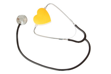 Stethoscope and heart of a white background.