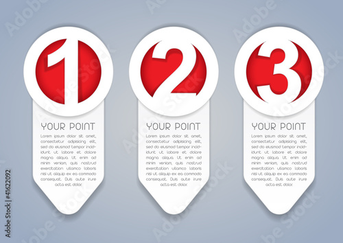 One, Two, Three vertical vector progress icons in White