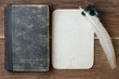 Book cover, quill and inkwell, old grunge paper on wood