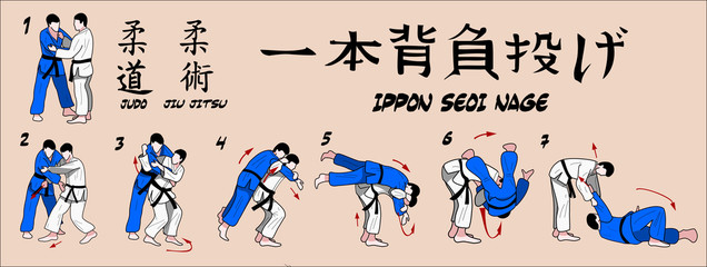 Judo projection over his shoulder with one hand