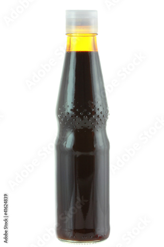 A bottle of Dark soy sauce (Soya Sauce) isolated on white