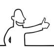 Black line art illustration of a man with his thumbs up.