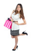 woman shopping bags after successful shopping, smiling