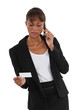 Businesswoman with a phone and a blank business card