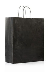 Black paper bag on white, clipping path included