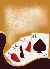 Poker cards banner, vector illustration