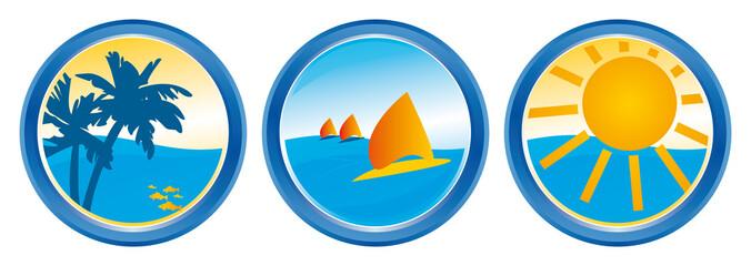 Plamen Surfen Sonne Strand Reiseagentur Logo mit QXP9 Datei