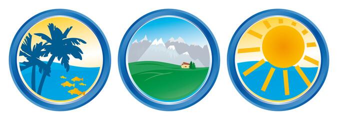 Reisebüro Signet Südsee Gebirge Sonne mit QXP9 Datei
