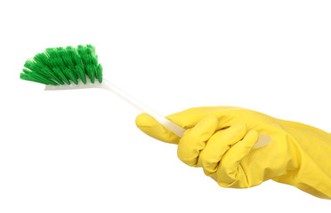 Cleaning brush for toilet in hand isolated on white