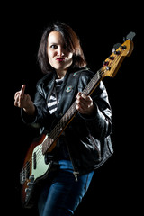 Woman with Electric Bass Guitar Showing Middle Finger