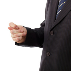 businessman showing fig - gesture of contempt