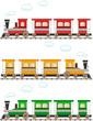 set cartoon isolated colorful train