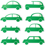 green isolated cars with shadow. sign ecology transport poster