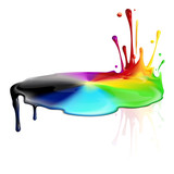 Colorful and colorless paint splashing poster