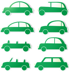 green isolated cars with shadow. sign ecology transport