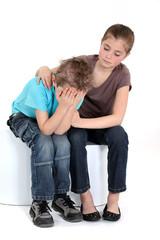 Comforting little girl