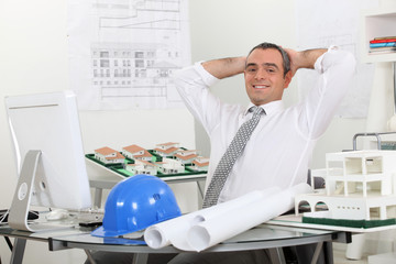 Structural engineer in office