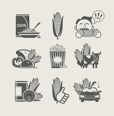 corn and products set icon vector illustration