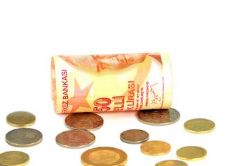 elli türk lirası ve bozuk para
