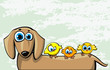 Funny cartoon dachshund dog and three birds