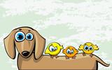 Funny cartoon dachshund dog and three birds