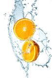 Fototapety Juicy Orange with water splash on white background