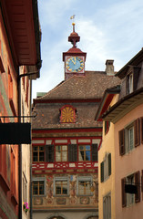 Painted facade of a historic building in the Swiss city Stein an