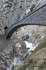 Devil's bridge at St. Gotthard pass, Switzerland. Alps. Europe