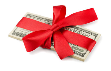 Bundle of US dollars tied with red ribbon