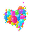 Colorful balloons heart shape group