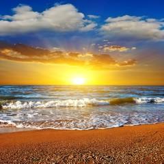 dramatic sunset on a sea