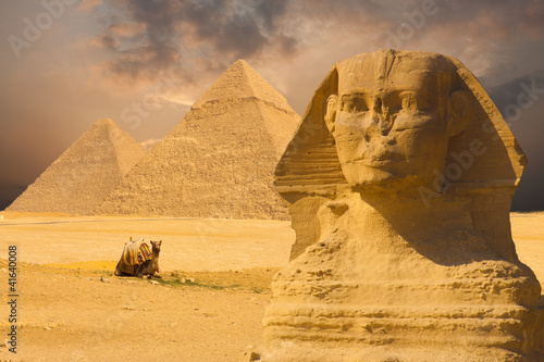 Great Sphinx Face Pyramids Sunset Background