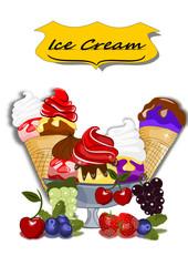 Eis, Eisbecher mit Früchten