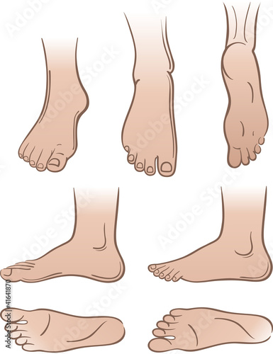 Seven man feet isolated on white background