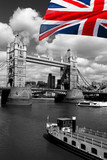 London Tower Bridge with colorful flag of England - 41642620
