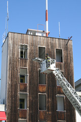 fire trucks ladder truck during a rescue mission